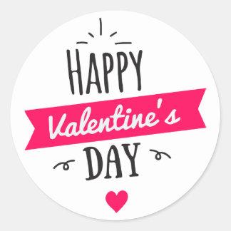 Modernes GLÜCKLICHES Valentinstag-Rosa-Weiß-Herz Runder Aufkleber