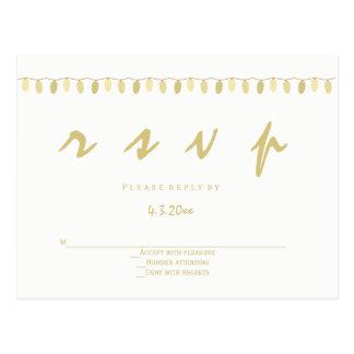 Modernes Gold beleuchtet Hochzeits-uAwgpostkarten Postkarte
