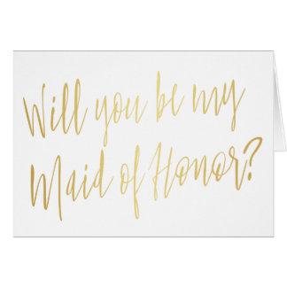"""Modernes Gold """"sind Sie meine Trauzeugin """" Grußkarte"""