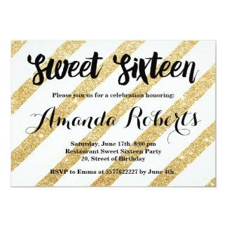 Modernes Gold stripes Brushstrokes Bonbon 16 12,7 X 17,8 Cm Einladungskarte