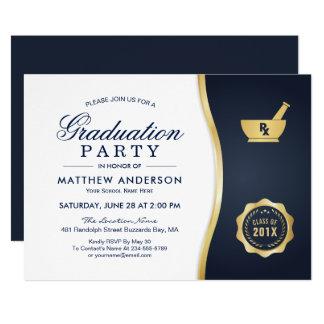 Modernes Goldblaues Apotheken-SchulAbschluss-Party Karte