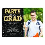Modernes GoldGlitter-Foto-Abschluss-Party laden ei Individuelle Einladungen
