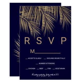 Modernes Goldpalme-Marineblau UAWG wedding Karte