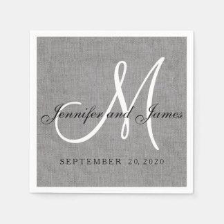 Modernes graues Leinenmonogramm-Wedding Serviette