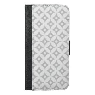 Modernes graues und weißes Kreis-Tupfen-Muster iPhone 6/6s Plus Geldbeutel Hülle