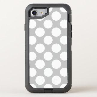 Modernes graues Weiß-Tupfen-Muster OtterBox Defender iPhone 8/7 Hülle