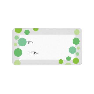 Modernes Grün punktiert Feiertags-neutrale Person Adressaufkleber