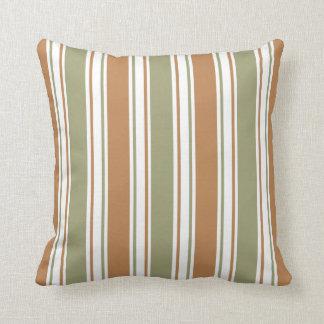 Modernes Grün und Brown-Streifen Kissen