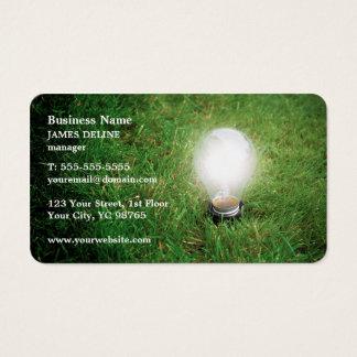 Modernes grünes Energie-Glühlampe-Gras Visitenkarte
