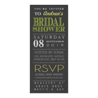 Modernes grünes Typografie-Brautparty lang 10,2 X 23,5 Cm Einladungskarte