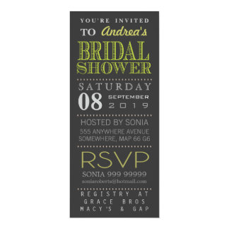 Modernes grünes Typografie-Brautparty lang Individuelle Einladungen