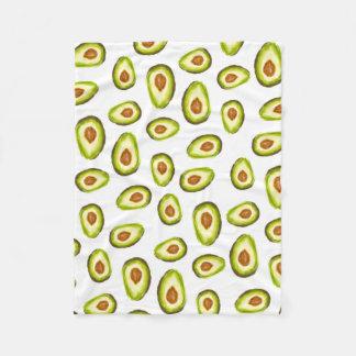Modernes handgemaltes Avocado-Aquarellmuster Fleecedecke