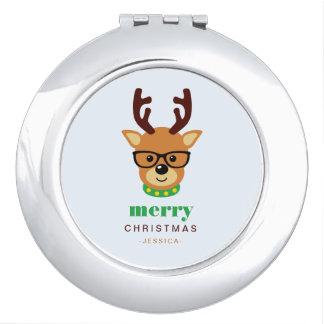 Modernes Hipster-Weihnachtsren mit Gläsern Taschenspiegel
