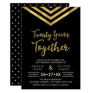 Modernes Imitat-GoldZickzack 20. Jahrestags-Party 12,7 X 17,8 Cm Einladungskarte