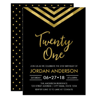 Modernes Imitat-GoldZickzack 21. Geburtstags-Party 12,7 X 17,8 Cm Einladungskarte