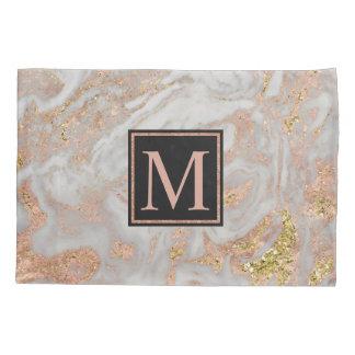 Modernes Imitat-Rosen-Goldmarmor-Strudel-Monogramm Kissenbezug