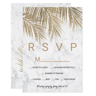 Modernes Imitatgoldpalme-Marmor UAWG wedding 8,9 X 12,7 Cm Einladungskarte