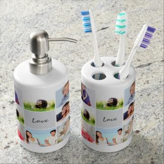 Modernes Instagram Stylized Ihre Fotos Seifenspender & Zahnbürstenhalter
