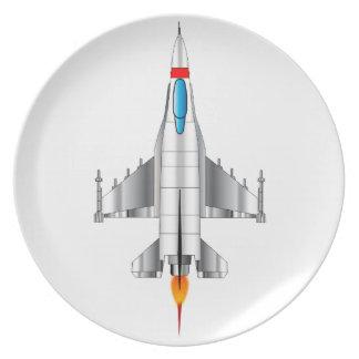 Modernes Jet-Kämpfer-Flugzeug Melaminteller