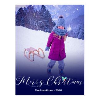 Modernes Kalligraphie-Foto-Weihnachten Postkarten