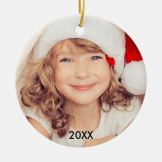 Modernes KinderFoto-stilvolle Weihnachtsverzierung Keramik Ornament