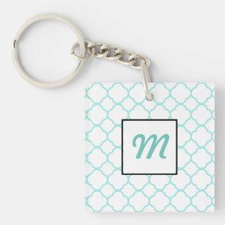 Modernes kundenspezifisches mit Monogramm blaues Schlüsselanhänger