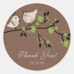Modernes Liebe-Vogel-Brautparty danken Ihnen Aufkl Runde Aufkleber