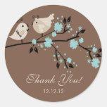 Modernes Liebe-Vogel-Brautparty danken Ihnen Aufkl Runder Aufkleber