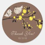 Modernes Liebe-Vogel-Brautparty danken Ihnen Aufkl Runde Sticker