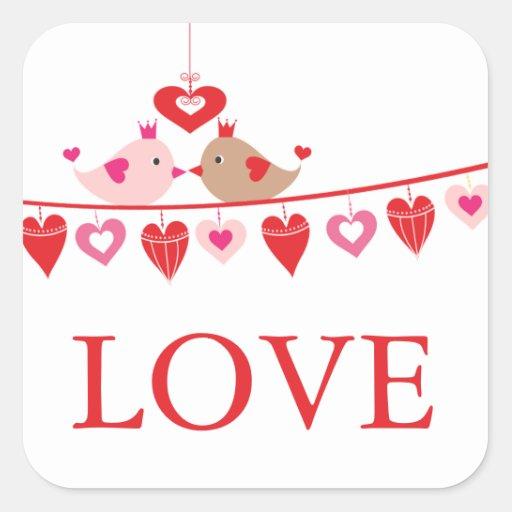 Modernes Liebe-Vogel-Herz-Brautparty danken Ihnen Quadratsticker