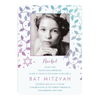 Modernes Lila + Aquamarine Foto-Schläger Mitzvah 12,7 X 17,8 Cm Einladungskarte