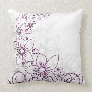 Modernes lila Blumen-Kissen Kissen