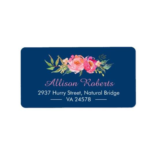Modernes lila rotes rosa botanisches adressaufkleber