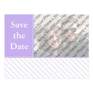 Modernes Lila Save the Date Wedding Foto-Postkarte Postkarte