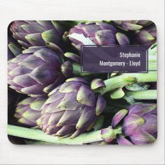 Modernes lila u. grünes Artischocken-Foto Mousepad