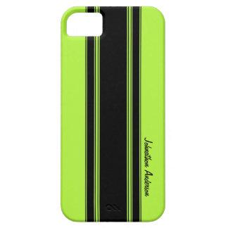Modernes Limones Grün, das Streifen mit Namen iPhone 5 Etuis
