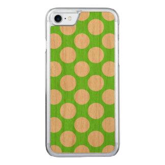 Modernes Limones grünes weißes Polka-Punkt-Muster Carved iPhone 8/7 Hülle