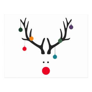 Modernes lustiges abstraktes Weihnachtsren auf Postkarte