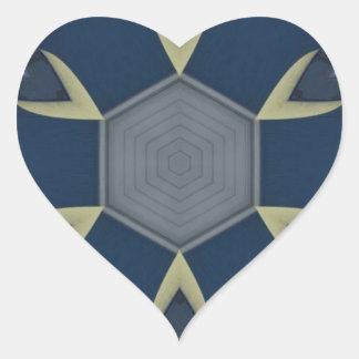 Modernes männliches geometrisches Symmetrie-Muster Herz-Aufkleber