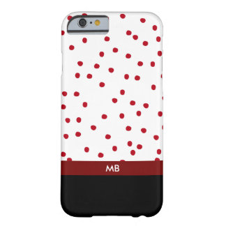 Modernes Monogramm in rotem Schwarzweiss Barely There iPhone 6 Hülle