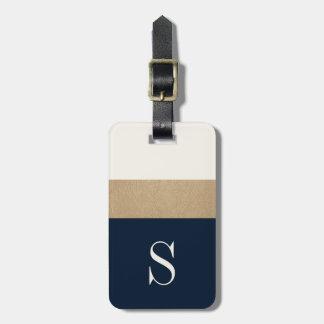 Modernes Monogramm-Marine-Blau-Goldgestreifter Adress Schild