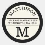 Modernes Monogramm-persönliches rundes Runder Sticker