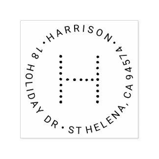 Modernes Monogramm-runde Rücksendeadresse Permastempel