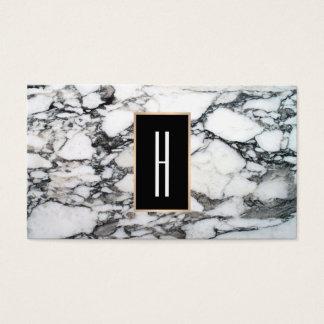 Modernes Monogramm, Schwarzweiss-Marmor, Stein Visitenkarten