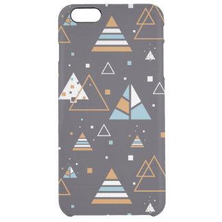 Modernes Muster 2 Browns u. der blauen Dreiecke Durchsichtige iPhone 6 Plus Hülle