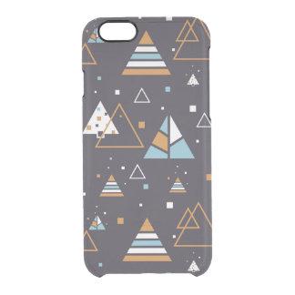 Modernes Muster 3 Browns u. der blauen Dreiecke Durchsichtige iPhone 6/6S Hülle