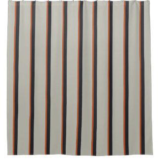 Modernes orange Rot-silbernes Grau-Streifen-Muster Duschvorhang