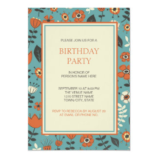 Modernes orange u. blaues Blumengeburtstags-Party 12,7 X 17,8 Cm Einladungskarte