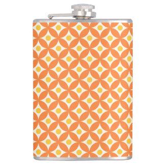 Modernes orange und gelbes Kreis-Tupfen-Muster Flachmann