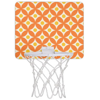 Modernes orange und gelbes Kreis-Tupfen-Muster Mini Basketball Netz